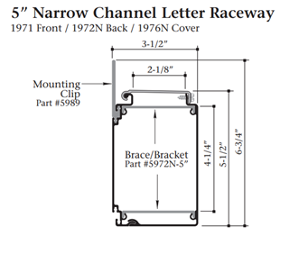 "Signcomp 5972N-5 5"" Narrow Channel Raceway Brace Bracket"