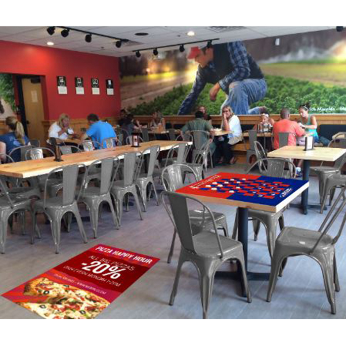 restaurant with floor graphic